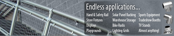 Endless Applications: Hand & Safety Rail, Store Fixtures, Displays, Playgrounds, Solar Panel Racking, Warehouse Storage, Bike Racks, Lighting Grids, Sports Equipment, Tradeshow Booths, TV Stands - The only limit is your imagination with Hollaender Nurail Fittings!